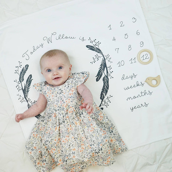 Baby Age Feather Wreath Blanket