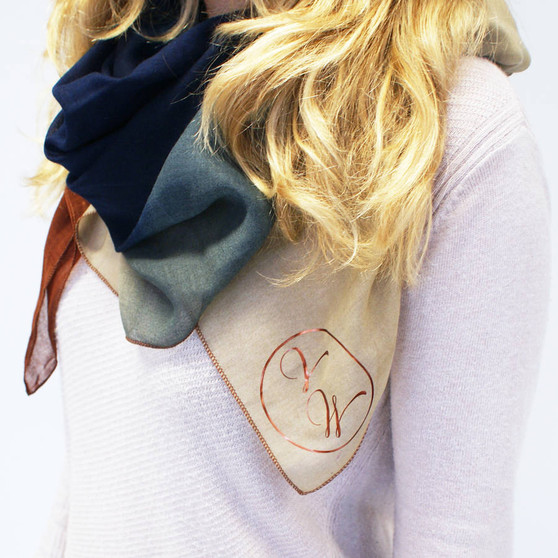 A colour scarf that is personalised with initials that would make a great gift