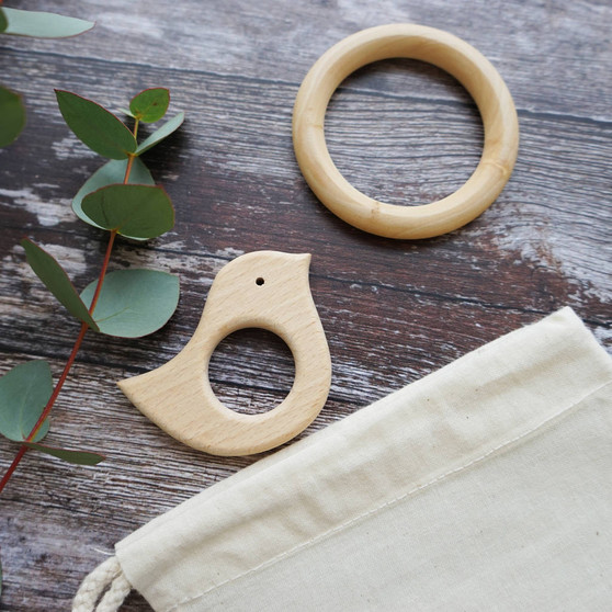 Wooden Baby Bird And Teether Set