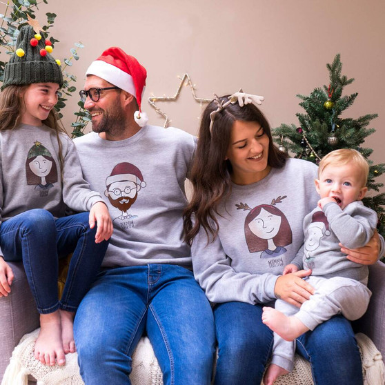 Family Portrait Christmas Jumpers