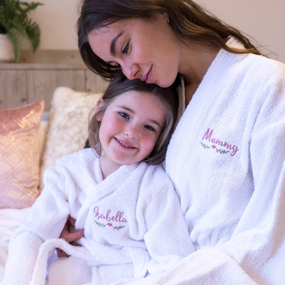 Embroidered Matching Towelling Bath Robes