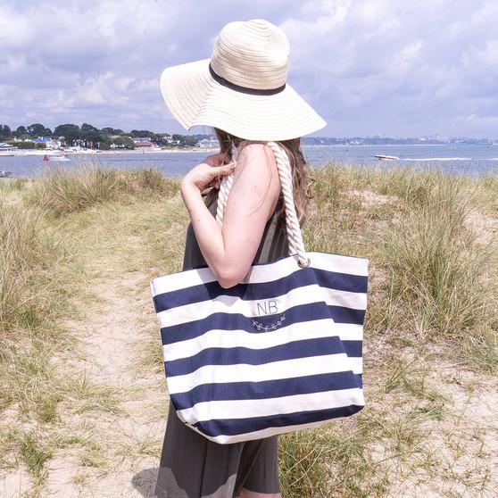 Nautical Stripe Monogram Tote Bag