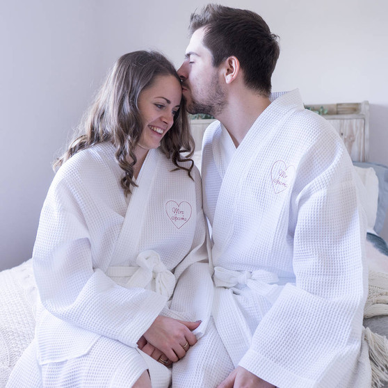Personalised Embroidered Heart Couples Dressing Gown