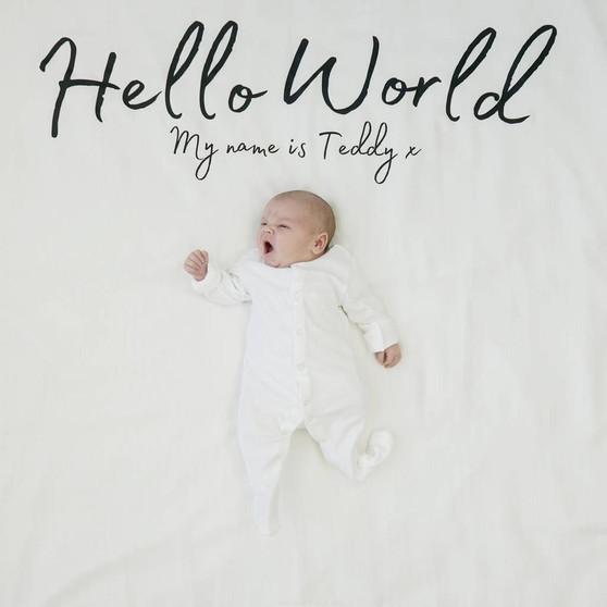 Hello World Baby Announcement Blanket