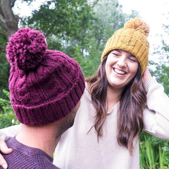Botanical Monogram Knitted Bobble Hat