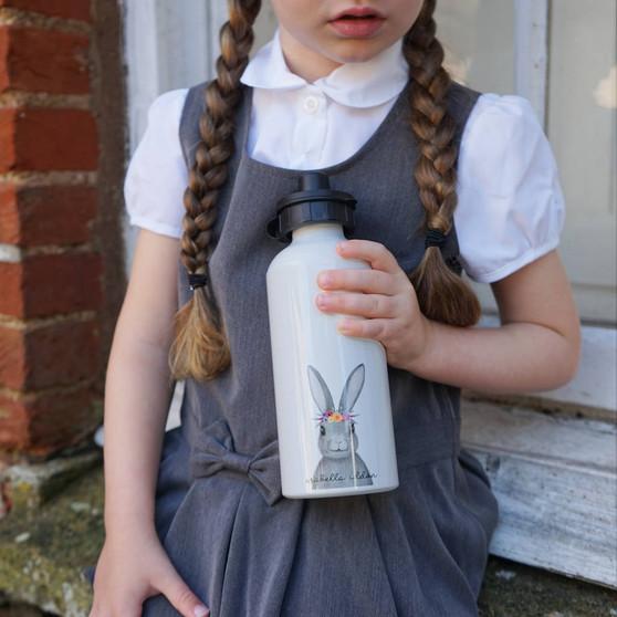 Floral Bunny School Water Bottle