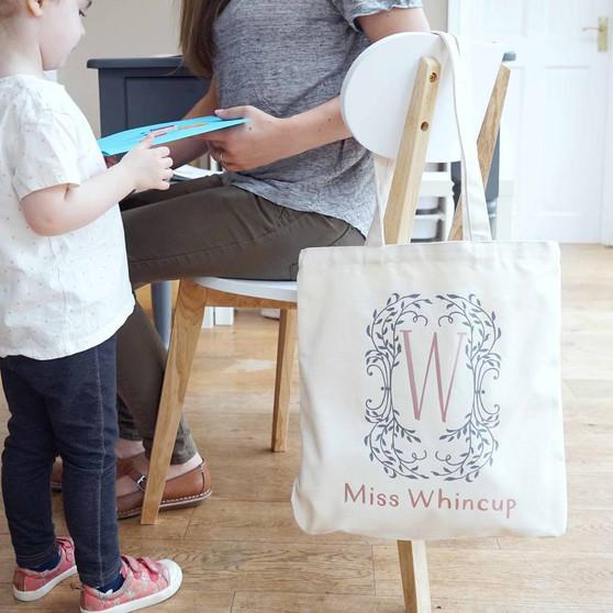 Botanical Monogram Teacher Shopper Bag
