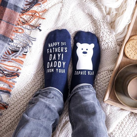 1st Father's Day Bear Socks