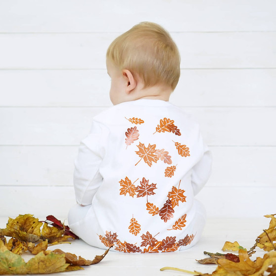 Autumn Leaves Baby Sleepsuit