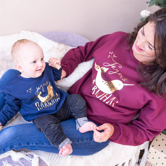 Joyeux Narwhal Adult And Child Christmas Jumpers