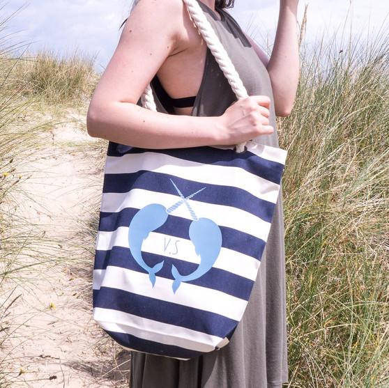 Nautical Stripe Narwhal Tote Bag