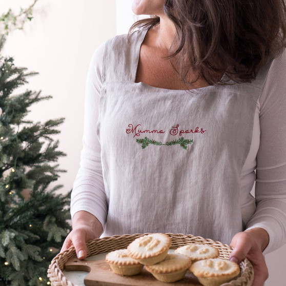 Embroidered Christmas Crossback Apron