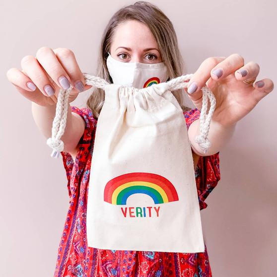 Personalised Rainbow Face Mask Storage Bag