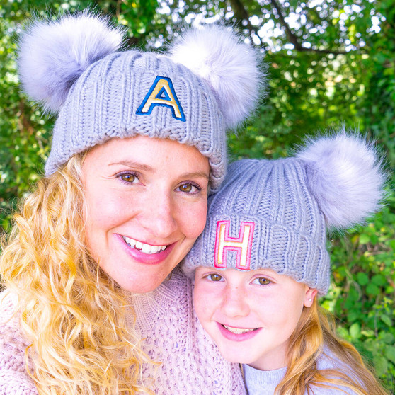 Initial Pom Pom Matching Hat Set