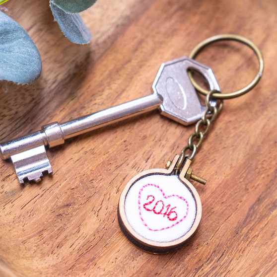 Personalised Special Date Embroidered Keyring
