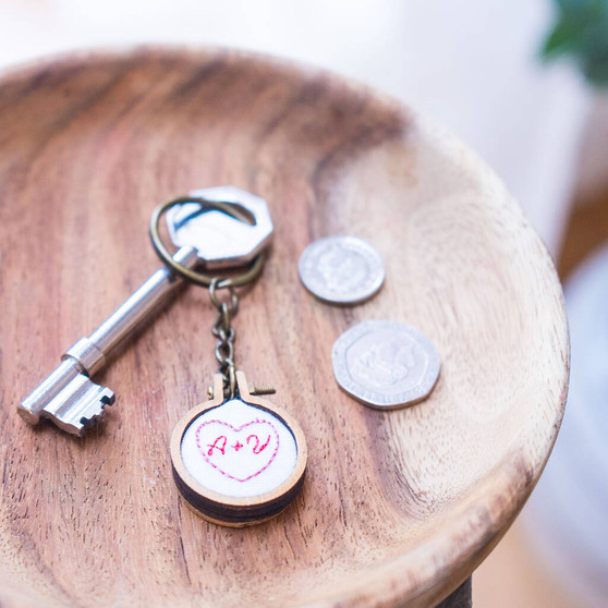 Personalised Your Initials Embroidered Keyring
