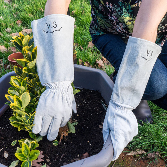 Personalised Embroidered Monogram gardening Gloves