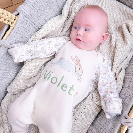 Personalised Organic Illustrated Bunny Baby Sleepsuit