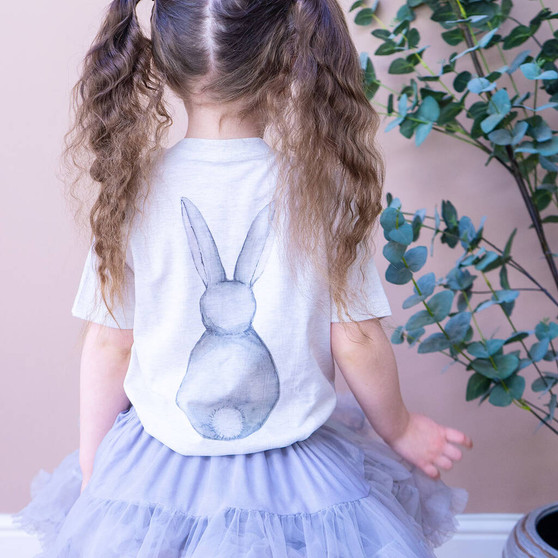 Organic Bunny Back Watercolour Children's Easter Tshirt