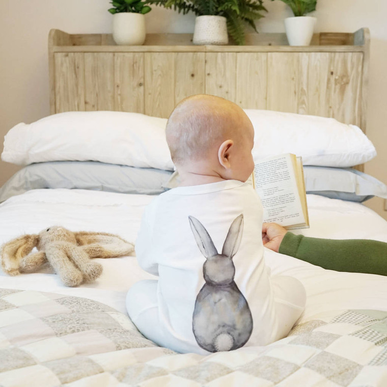 Bunny Rabbit Back Watercolour Baby Sleepsuit