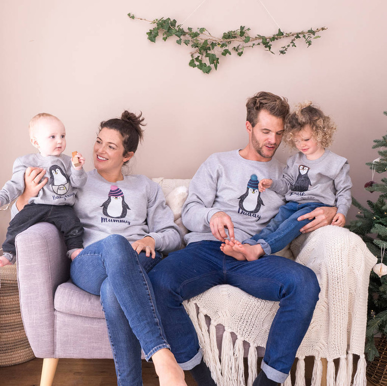 Family Penguin Christmas Jumper Set
