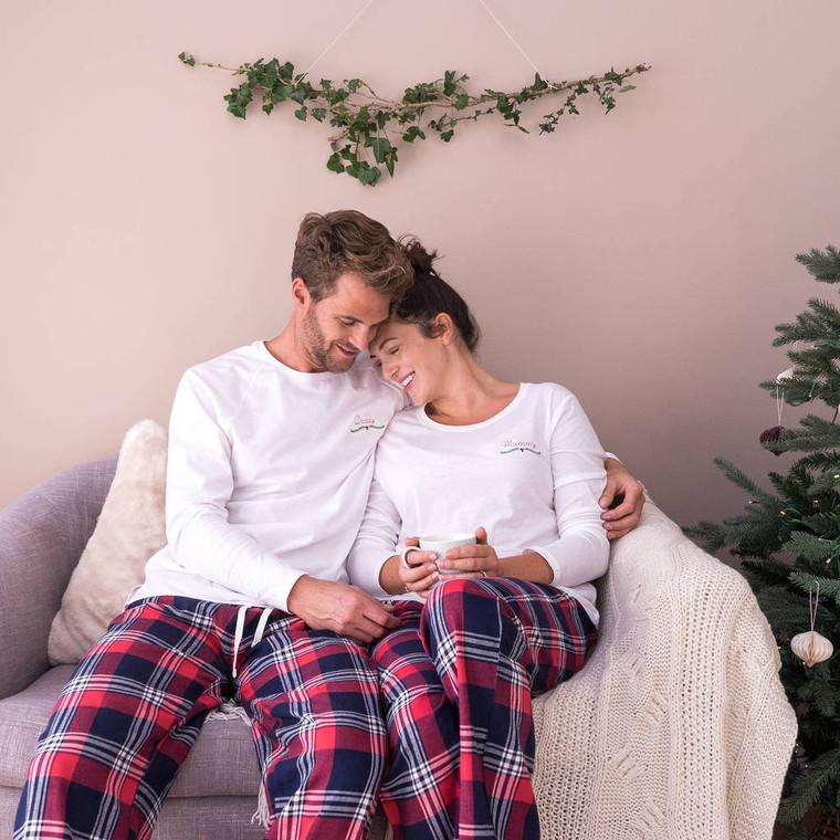 Embroidered Christmas Couples Pyjama Set