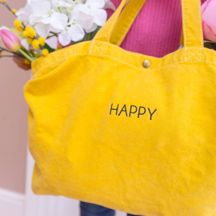 Embroidered Happy Tote Bag