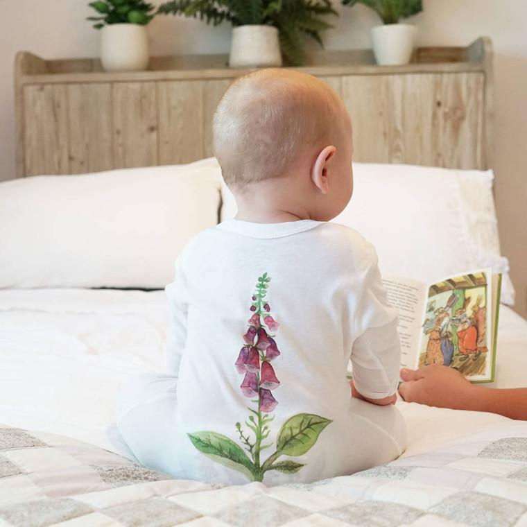 Foxglove Watercolour Baby Sleep Suit