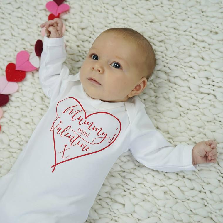 Mummy's Valentine Baby Sleepsuit