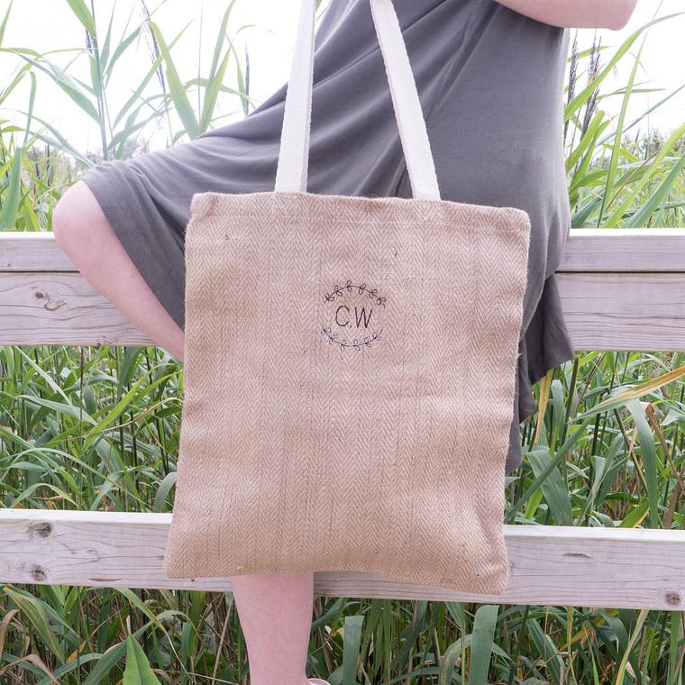 Jute Embroidered Monogram Tote Bag