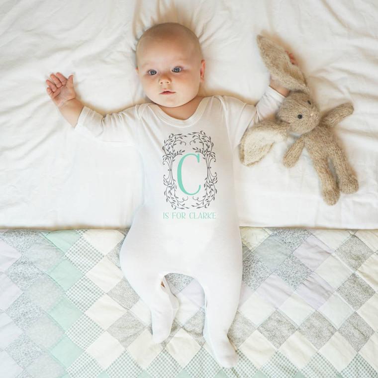 Botanical Monogram Baby Sleepsuit