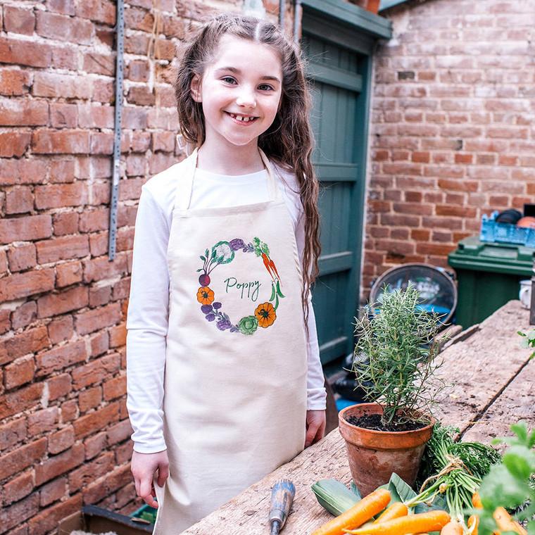 Kids Water Colour Vegetable Gardening Apron