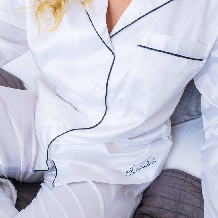 Embroidered Long Satin Pyjamas