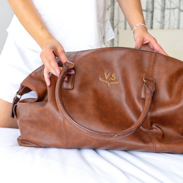 Vegan Leather Monogram Overnight Bag