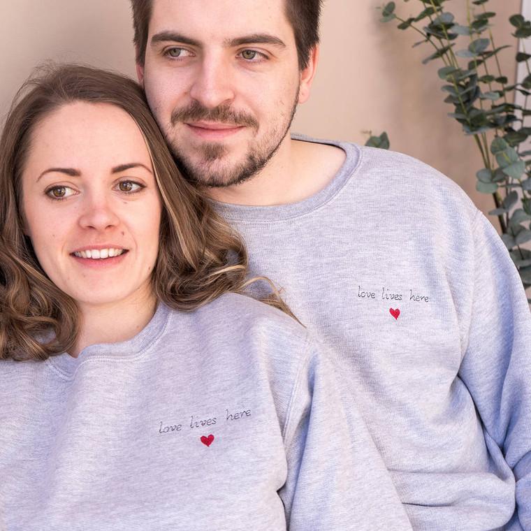 Love Lives Here Couples Jumper Set