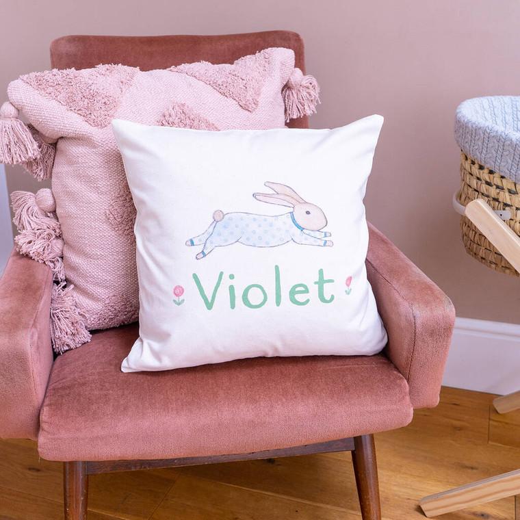 Personalised Fair Trade Illustrated Bunny Cushion