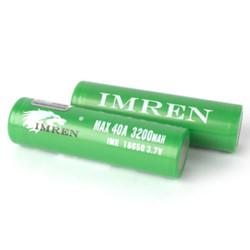 Imren (Green) IMR 18650 (3200mAh) 40A 3.7v Battery Flat-Top - 2 Pack