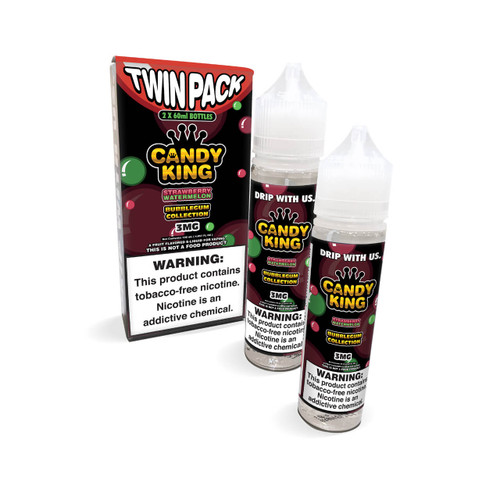 Candy King Bubblegum Strawberry Watermelon Synthetic Nicotine 120ml E-Juice  Wholesale   Candy King Wholesale
