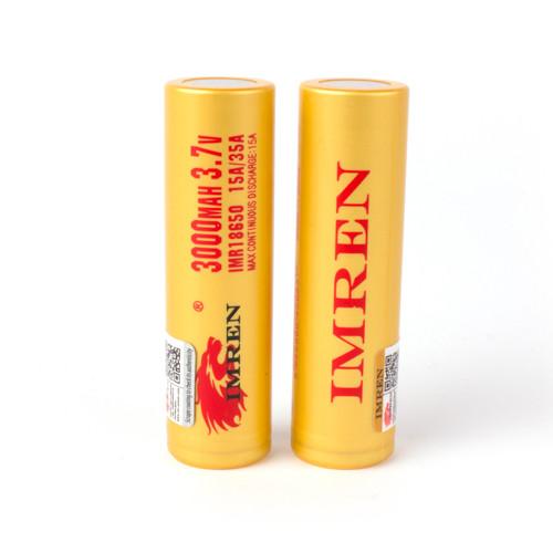 Imren (Yellow) IMR 18650 (3000mAh) 35A 3.7v Battery Flat-Top - 2 Pack