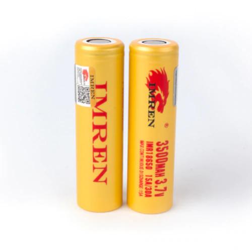 Imren (Gold) IMR 18650 (3500mAh) 30A 3.7v Battery Flat-Top - 2 Pack