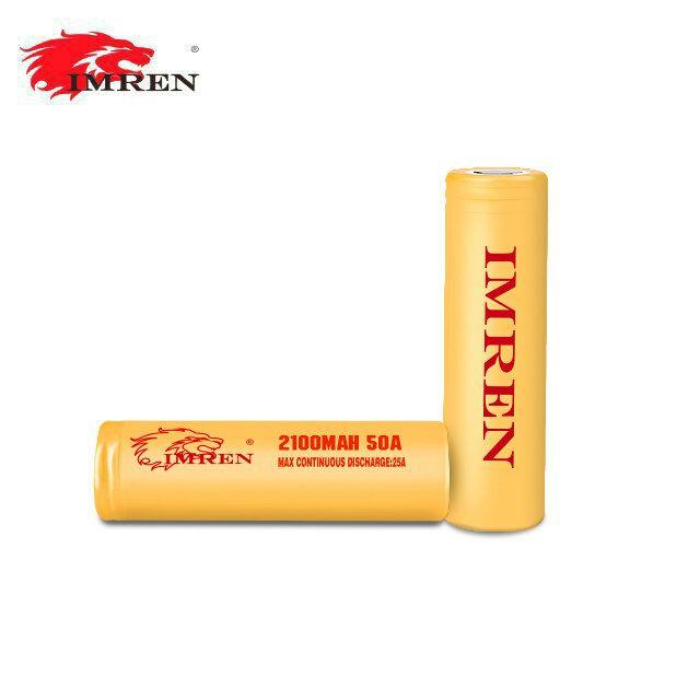Imren (Gold) IMR 18650 (2100mAh) 50A 3.7v Battery Flat-Top - 2 Pack