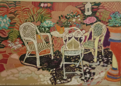 The Seating Area in the Garden acrylic by Shir Schvadron