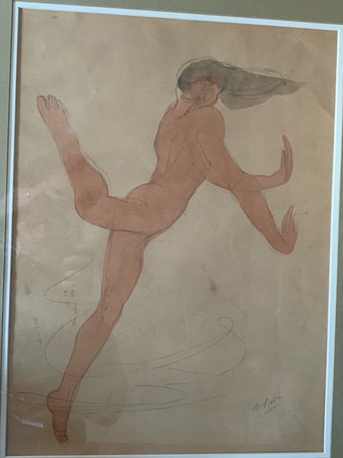 Isadora Duncan Dancer Watercolor by Auguste Rodin