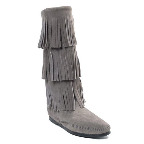 Minnetonka Moccasin TALL FRINGE Gray Boots