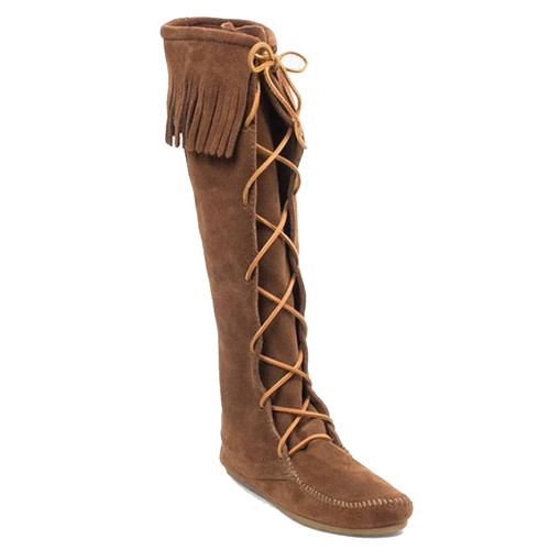 Minnetonka 1422 FRONT LACE KNEE HIGH Brown Boots