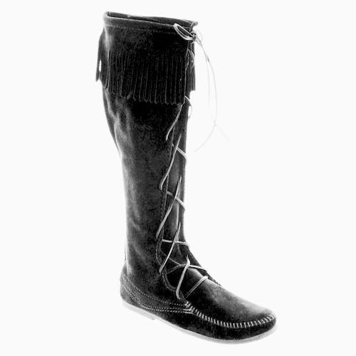 Minnetonka Men's Knee-High Lace Black Boots