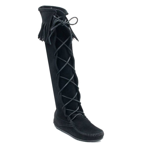 Minnetonka 1429 FRONT LACE KNEE HIGH Black Boots