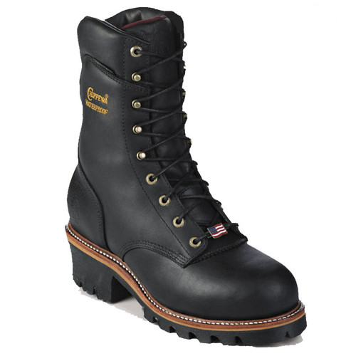 Chippewa 25411 USA ARADOR Soft Toe Non-Insulated Black Super Logger Boots