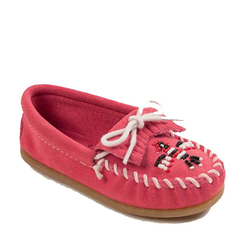 Minnetonka Kids' THUNDERBIRD II Hot Pink Beaded Moccasins