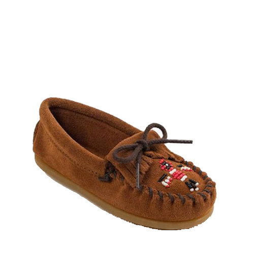 Minnetonka 2602 KIDS' THUNDERBIRD Beaded Moccasin Slippers